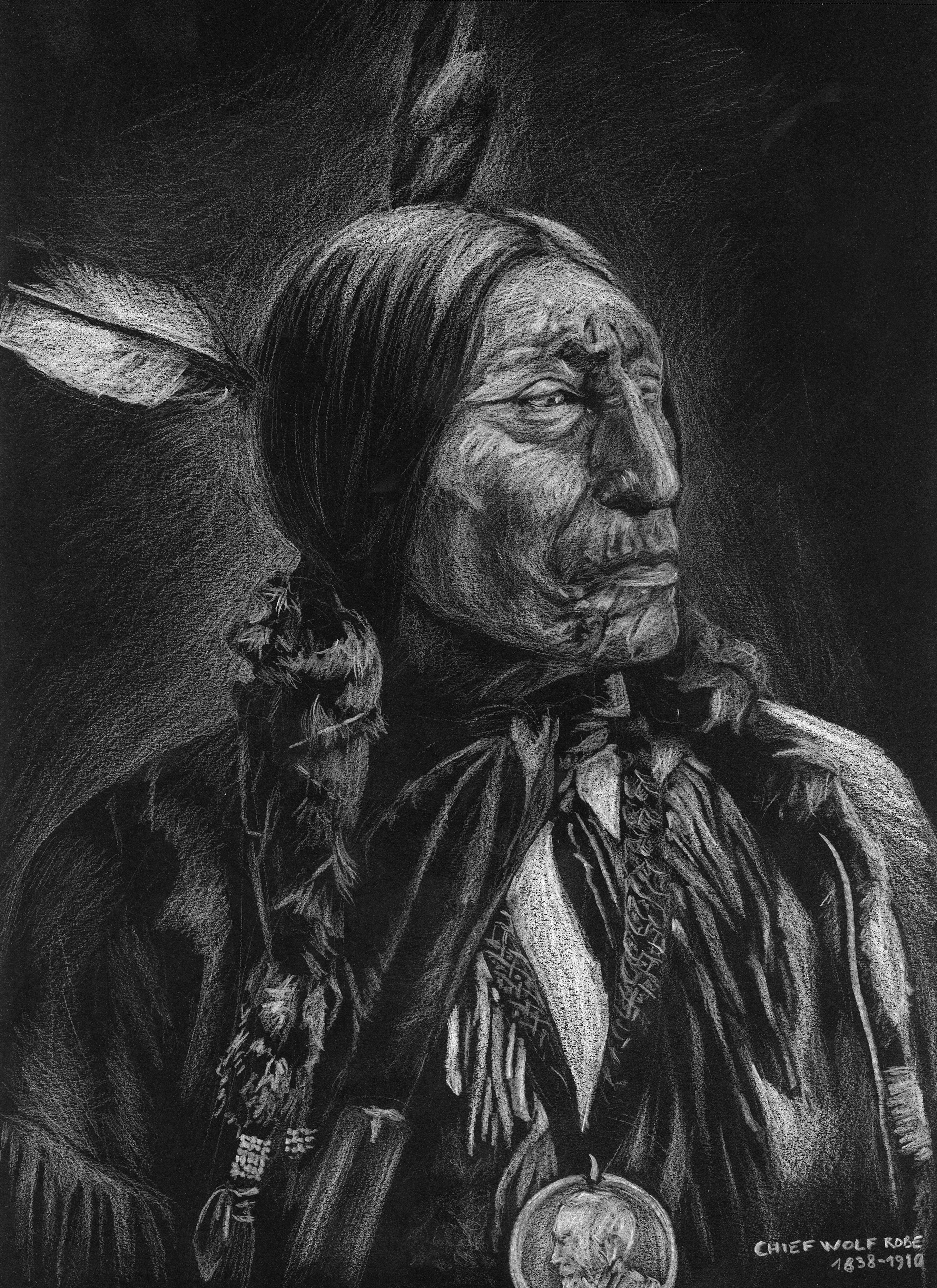 Chef indien Wolf Robe portrait