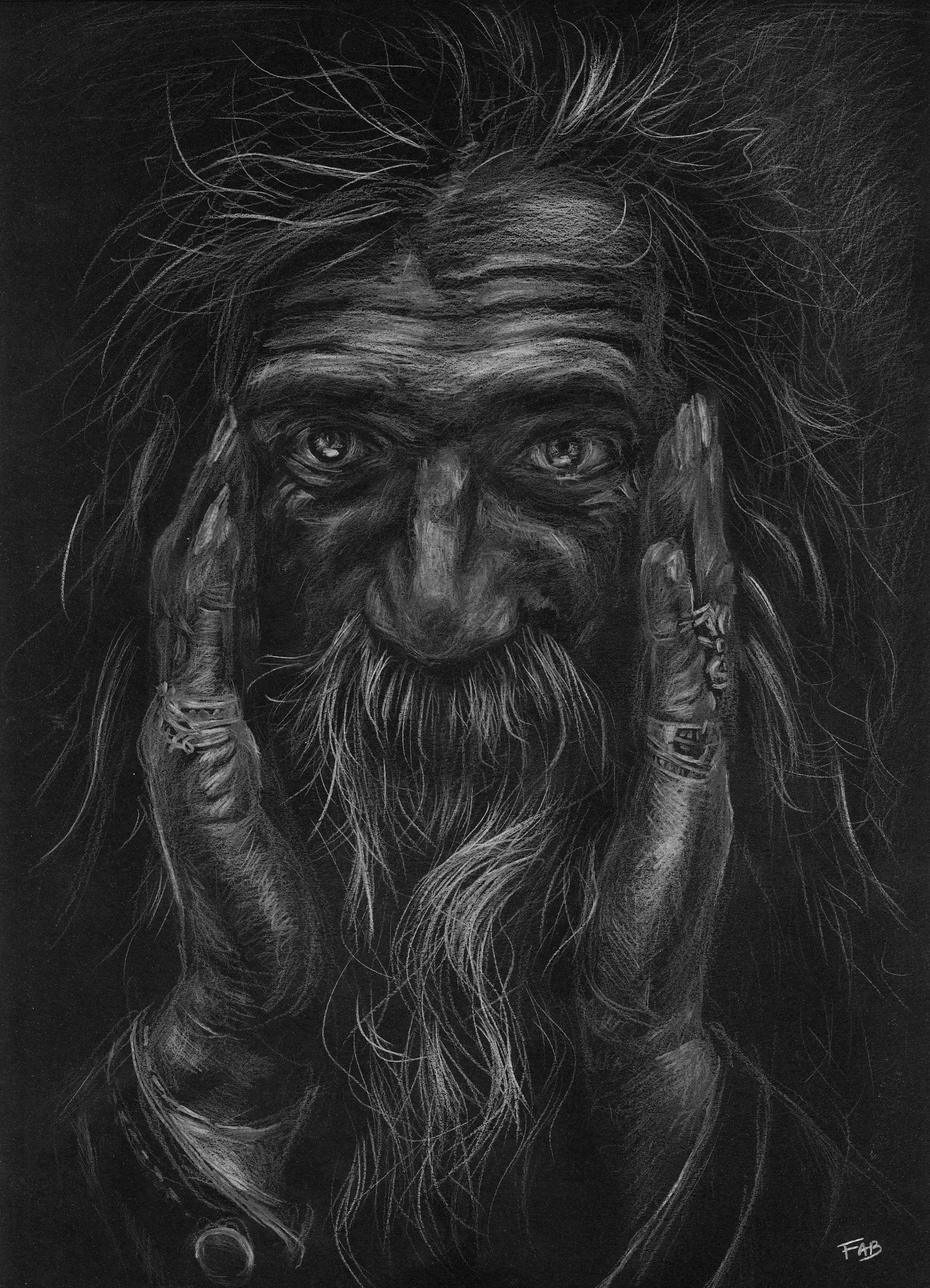 Portrait Hippie dessin