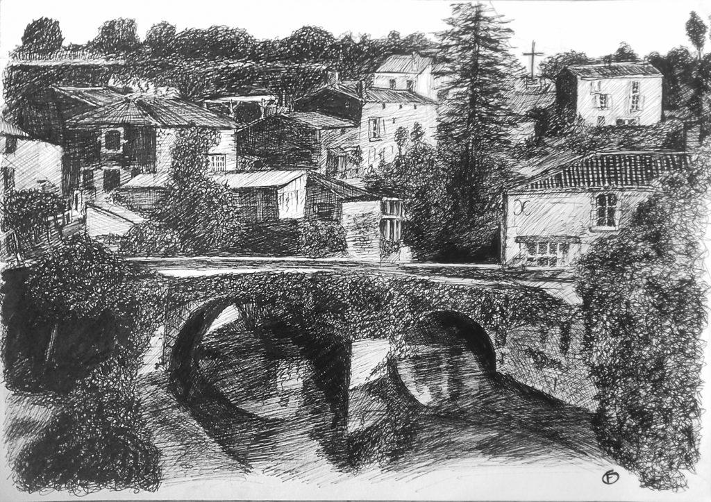 Pont roman de Vouvant côté Pibole. Dessin au stylo. A4