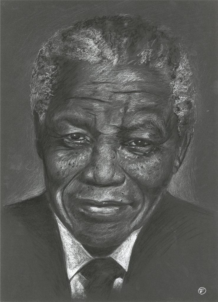Dessin Nelson Mandela Madiba pastels secs portrait