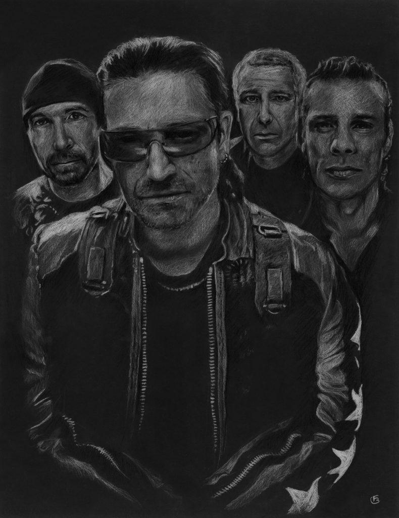 U2 dessin pastels secs sur format raisin noir