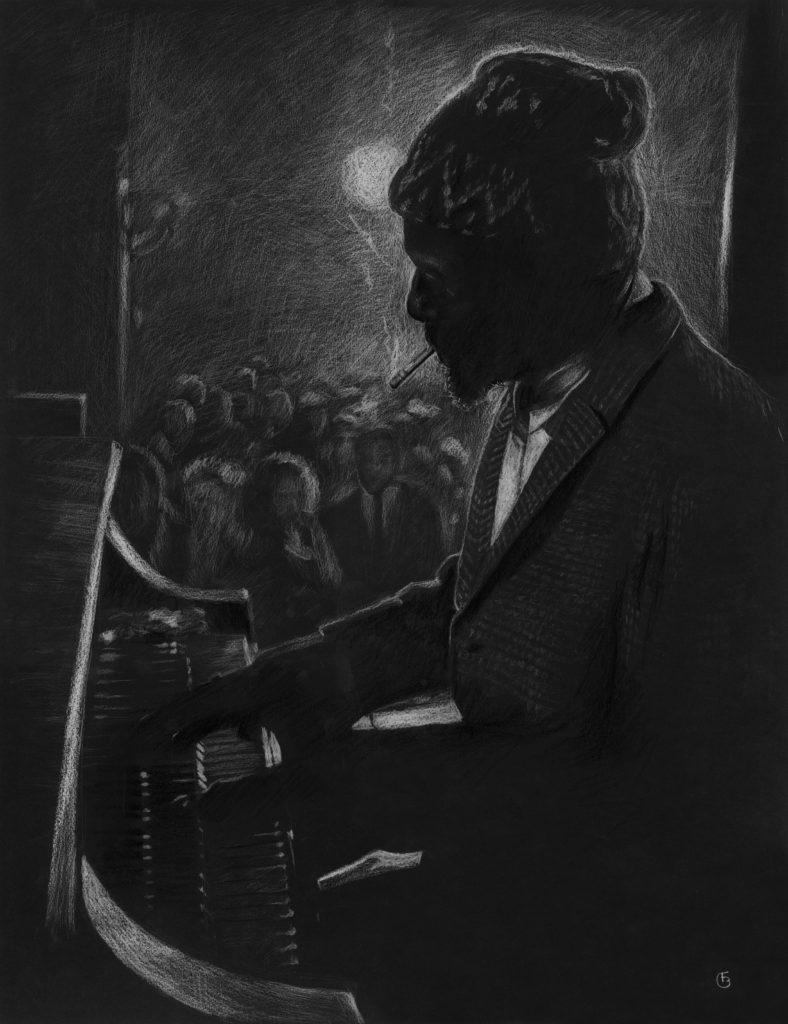 Thelonious Monk dessin Crayon blanc sur canson raisin noir