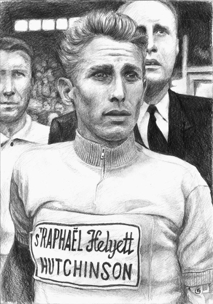 Anquetil, portrait du cycliste au crayon noir sur canson A3 blanc
