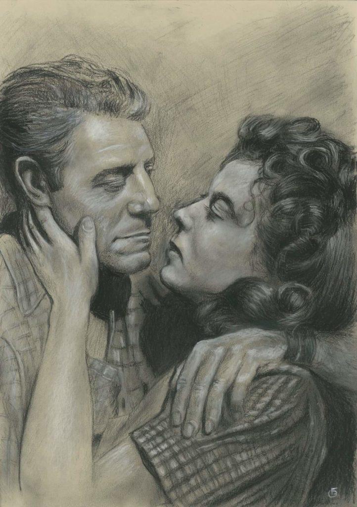 Portrait Jean Gabin dessin pastels secs