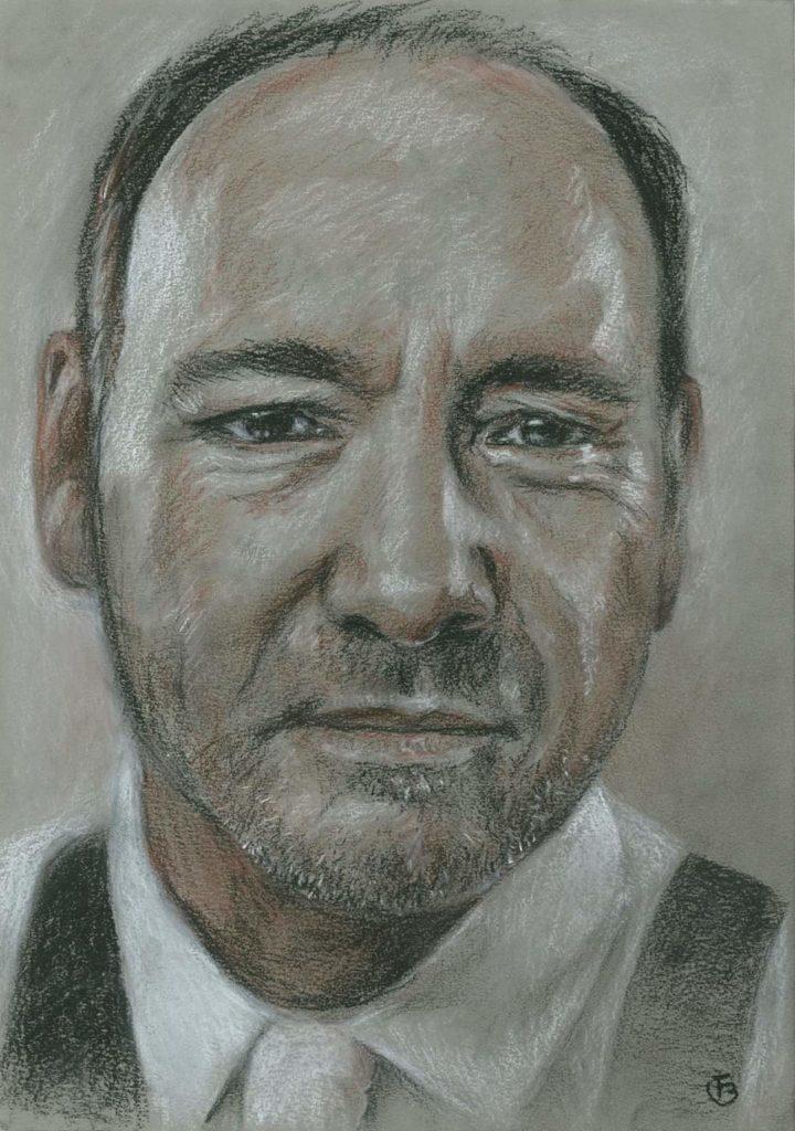 Portrait Kevin Spacey dessin pastels secs