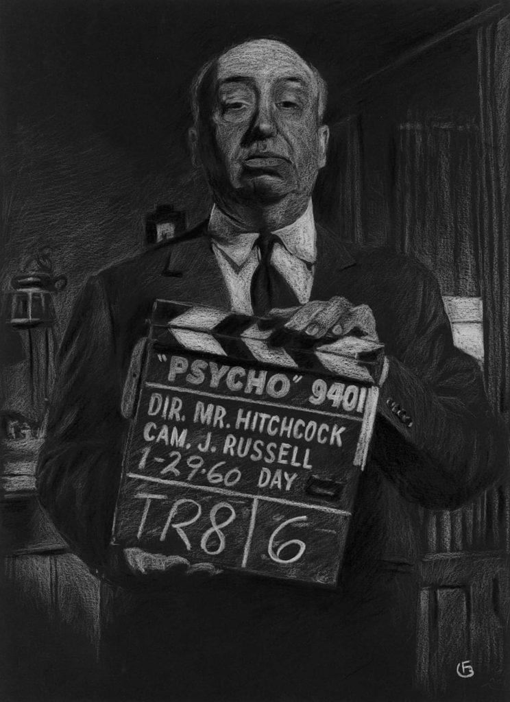 Alfred Hitchcock dessin portrait pastels secs