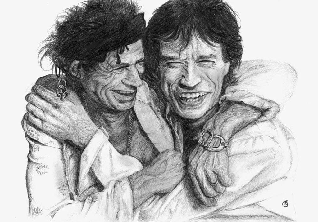 Rolling Stones Mick Jagger Keith Richard dessin protrait crayon