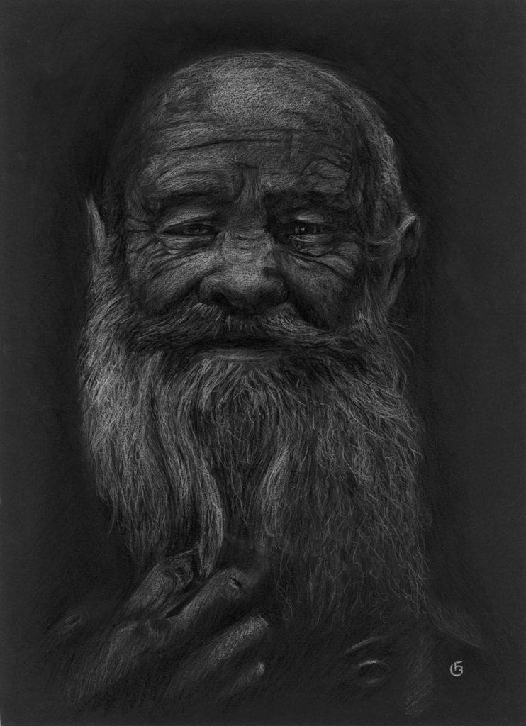 Vieil homme barbu dessin portrait pastels secs