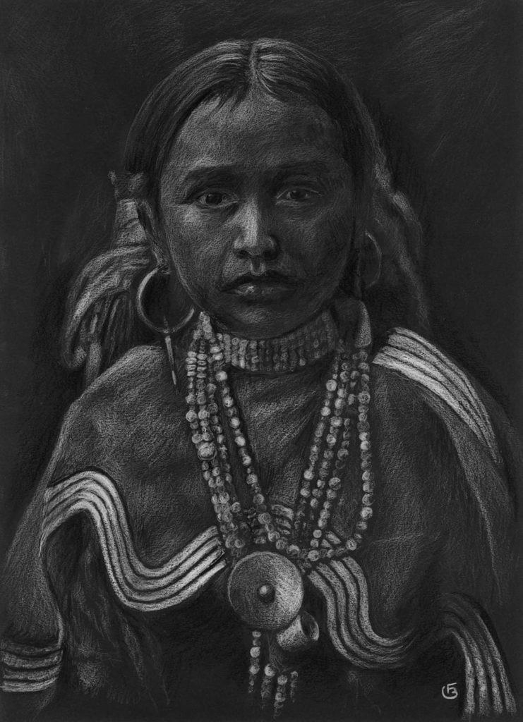 Jeune fille indienne dessin portrait pastels secs