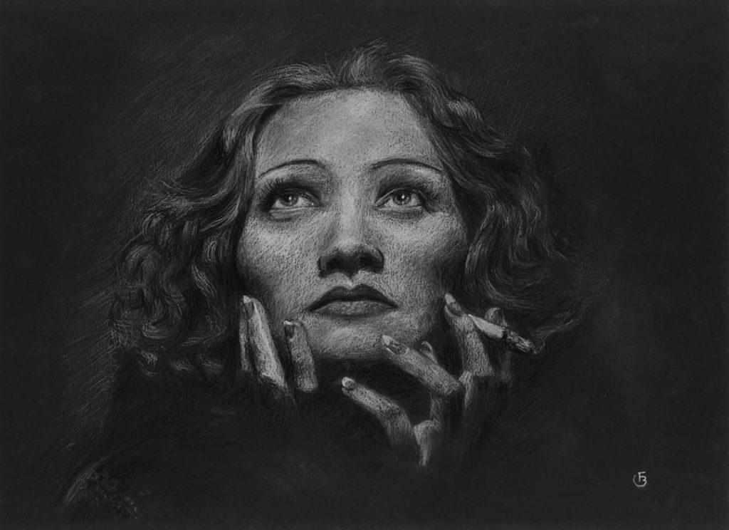 Marlène Dietrich dessin portrait pastels secs