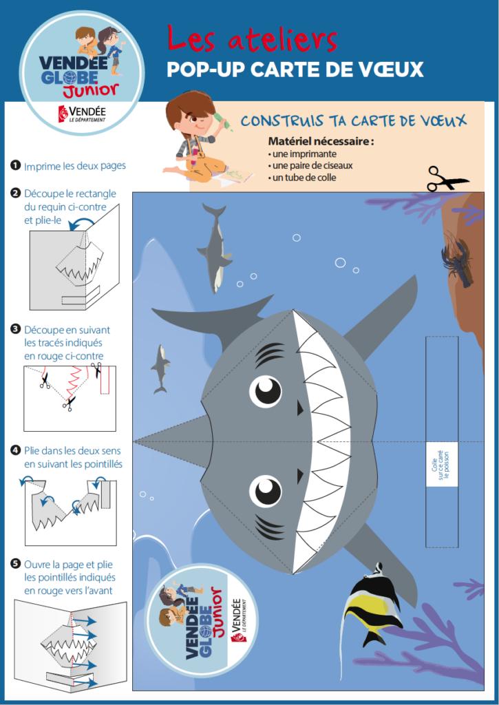 Pop-up carte de voeux requin